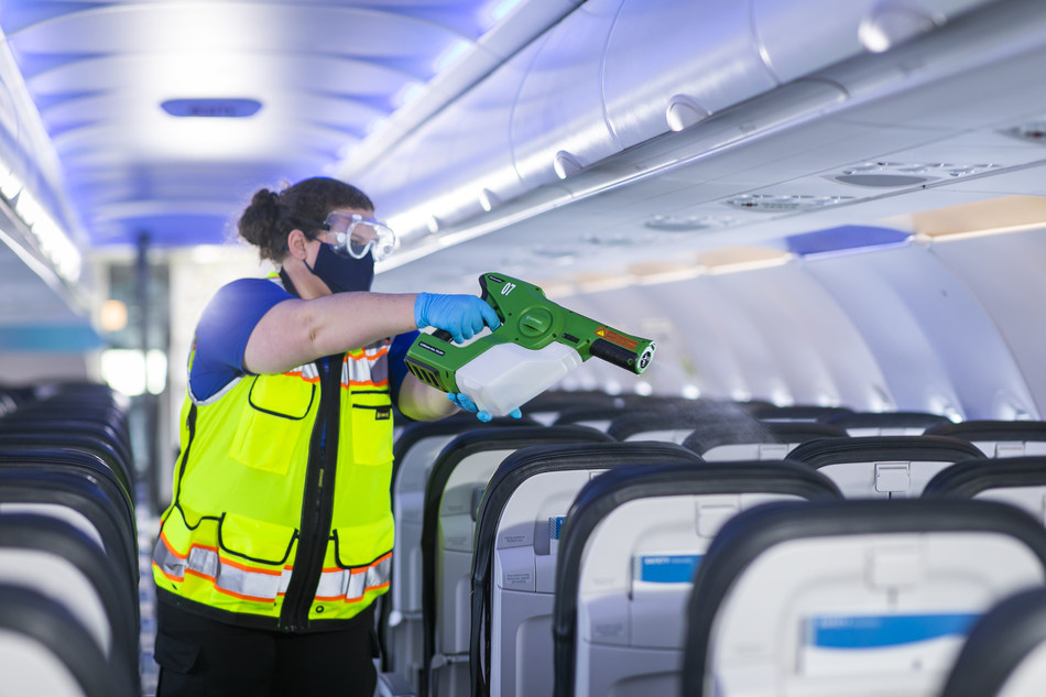 Is it safe to fly right now? Airlines are using electrostatic sprayers to clean planes.