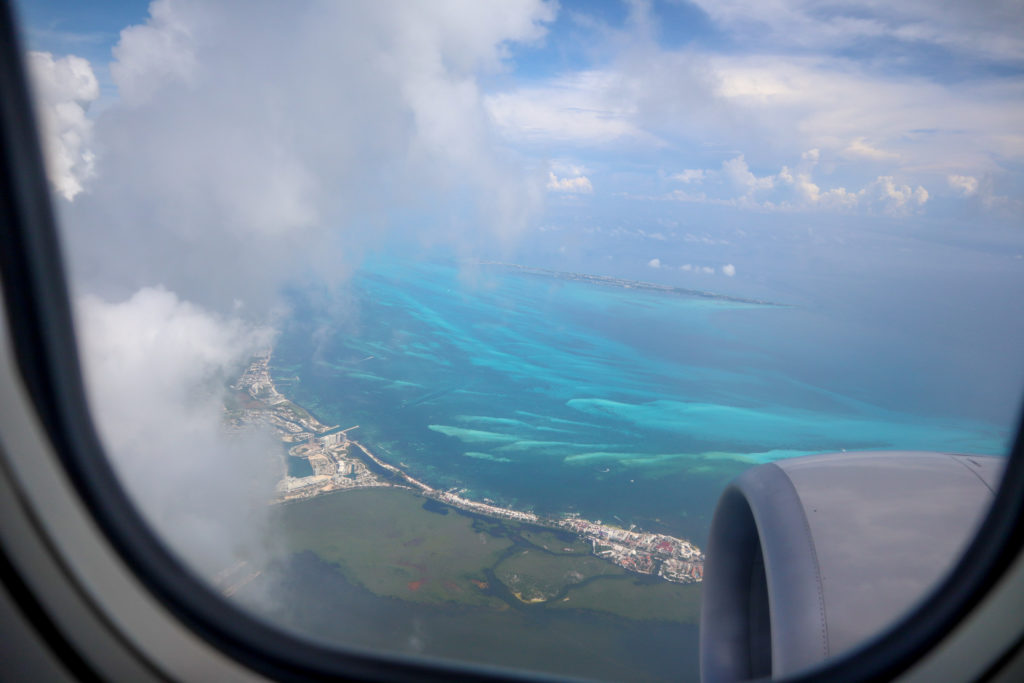 View of Cancun from airplane window