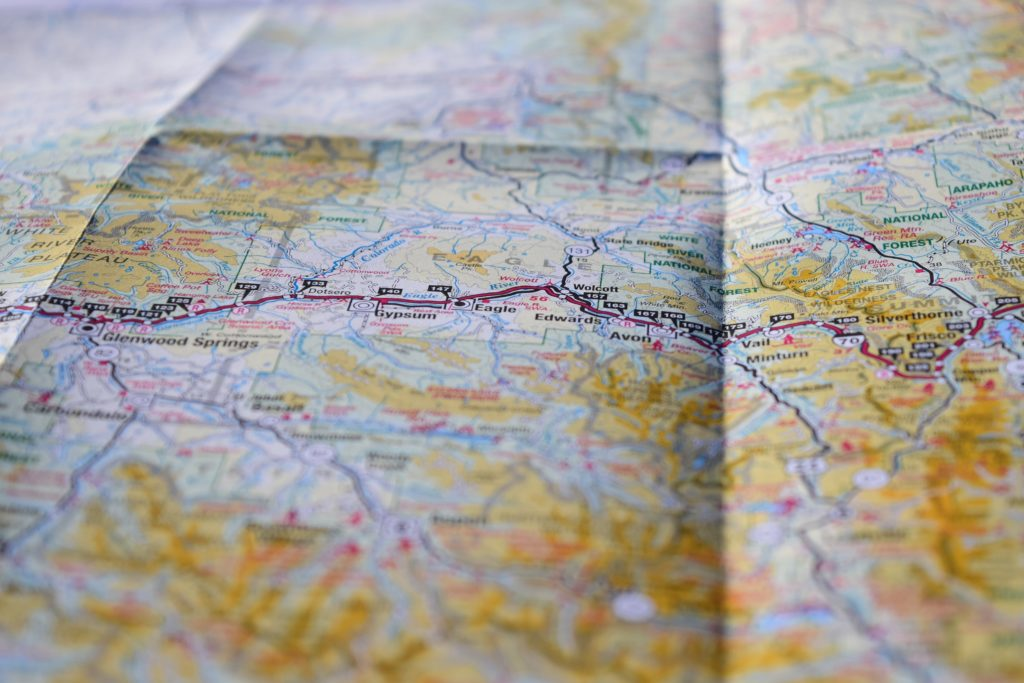 Map of Colorado being used to plan an upcoming road trip