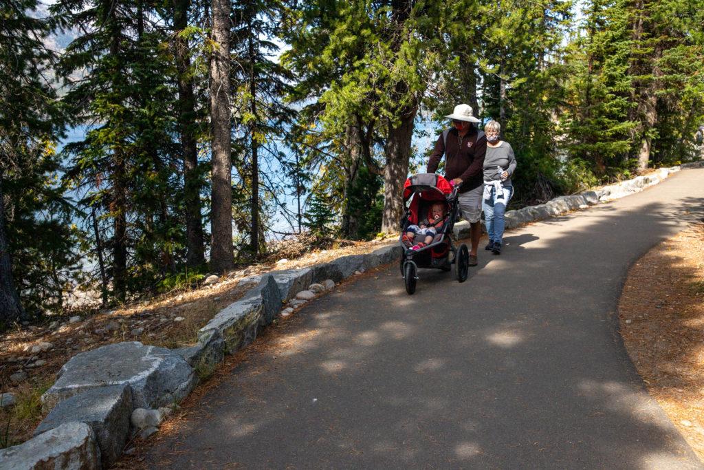 Family hikes the moose ponds trail at jenny lake