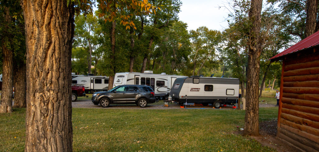 RVs parked at the Longhorn RV Resort during a fall camping trip