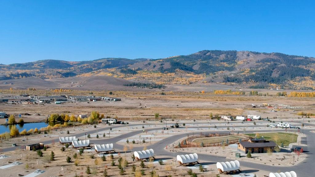 Conestoga wagon rentals at The River Run RV Resort in Granby Colorado