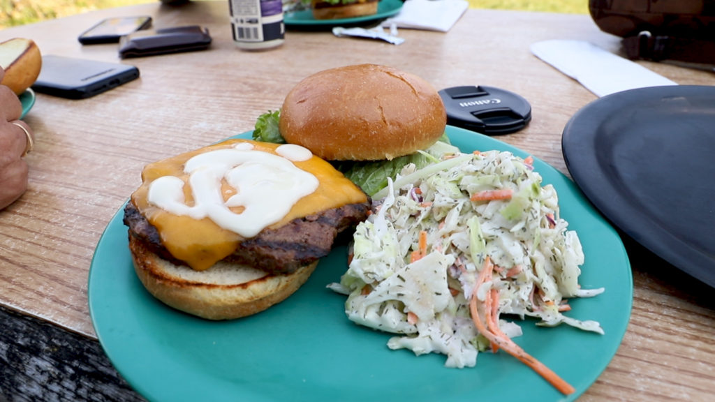 A buffalo burger at Dornan's in Moose, WY near Grand Teton National Park