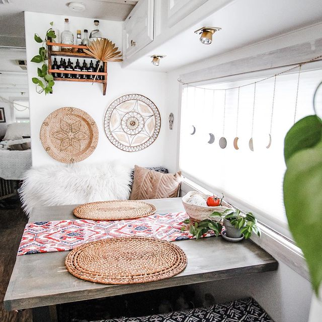Rv interior of a table set up