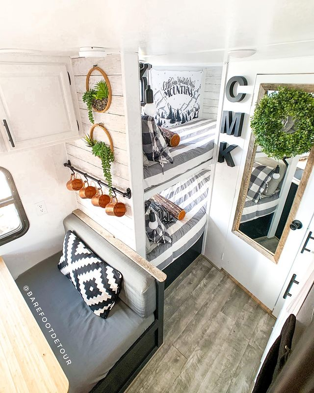 RV interior using shiplap wallpaper in the decor