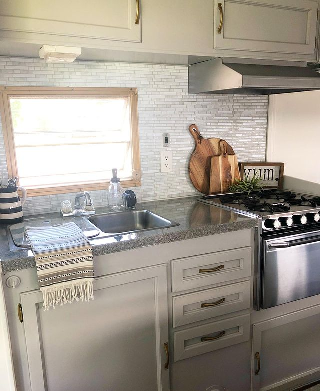 RV kitchen with spray painted countertops