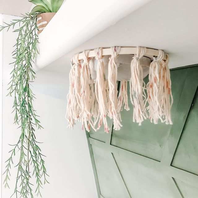 DIY yarn chandelier used in RV for bohemian vibe