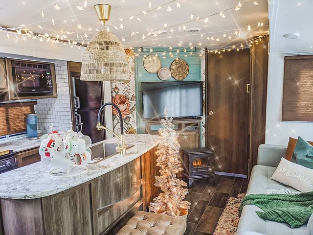 Rv Decor Ideas | Interior with string lights on ceiling