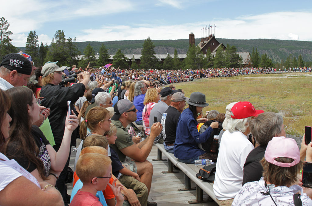Crowds at the Old Faithful Geyser in the summer months