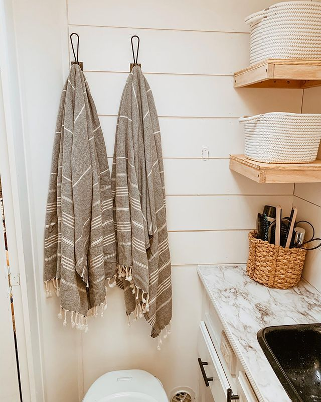 Turkish towels being used as decor in renovated RV