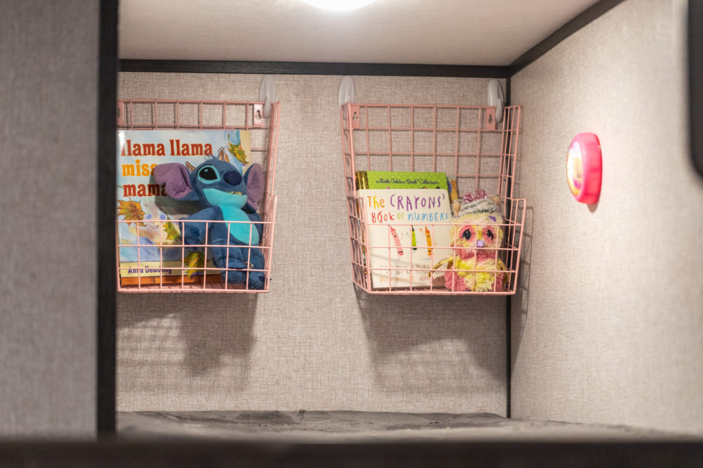 Camper decor ideas | wire baskets for toy storage